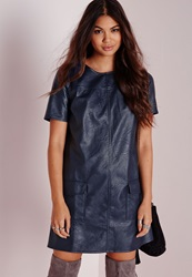Missguided Pocket Detail Faux Leather Shift Dress Navy Blue