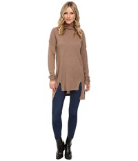 Christin Michaels Madeline High Low Turtleneck Cashmere Sweater Mocha Women's Sweater Brown