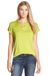 Women's Pleione Split Neck High Low Tee Olive Paradise