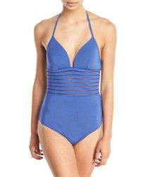 Jets By Jessika Allen Parallels Striped Mesh Solid One Piece Swimsuit Blue