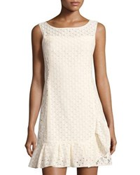 Nanette Lepore Ruffle Hem Eyelet Shift Dress Ivory