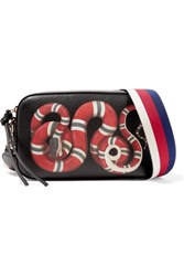 Gucci Merveilles Printed Textured Leather Shoulder Bag Black
