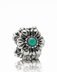 Pandora Design Pandora Charm Sterling Silver And Turquoise Birthday Blooms December Moments Collection Silver Turquoise