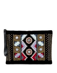 Collection 18 Geo Embellished Clutch Black