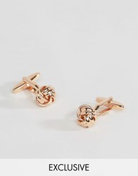 Reclaimed Vintage Knot Cufflinks In Rose Gold Rose Gold