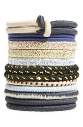 Bp Metallic Hair Ties Set Of 12 Black Gold
