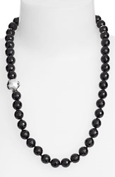 Women's Simon Sebbag Stone Beaded Necklace Black Onyx Silver