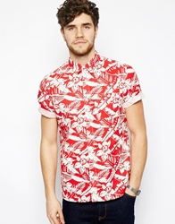 Asos Shirt With Floral Print In Short Sleeves Red
