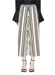 Alice Olivia 'Sherice' Stripe Cropped High Waist Pants White