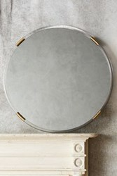 Anthropologie Brass Capped Mirror Clear And Brass