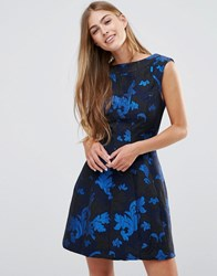 See U Soon Skater Dress In Jacquard Blue