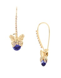 Betsey Johnson Cubic Zirconia Goldtone Butterfly Drop Earrings Purple