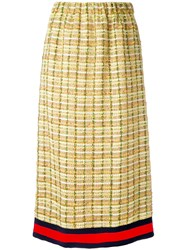 Gucci Gg Web Midi Tweed Skirt Women Silk Cotton Linen Flax Metallized Polyester 44 Yellow