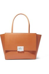 Calvin Klein 205W39nyc Bonnie Grosgrain Trimmed Leather Tote Tan