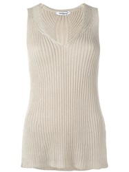 Cacharel Ribbed Knit Top Nude Neutrals