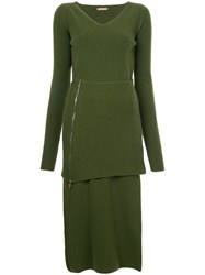 Nehera V Neck Knitted Dress Women Virgin Wool S Green