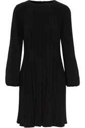 Co Pleated Stretch Crepe Dress Black