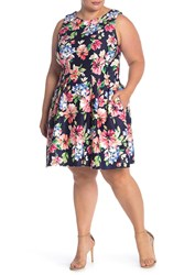 Vince Camuto Floral Fit And Flare Scuba Dress Plus Size Nvy