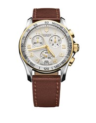 Victorinox Chrono Classic Stainless Steel Leather Strap Watch Silver