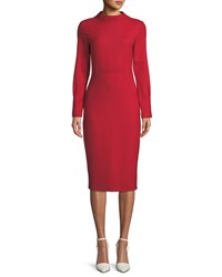 Piazza Sempione Audrey Mock Neck Long Sleeve Fitted Dress Red
