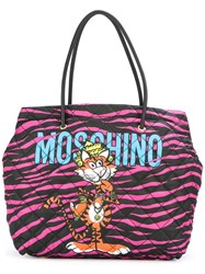 Moschino Jewelled Tiger Print Tote Black