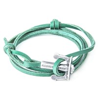Anchor And Crew Union Leather And Silver Bracelet Green