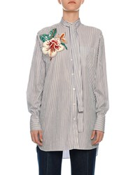 Valentino Floral Embroidered Tie Neck Pinstriped Shirt Blue White