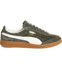 Puma Madrid Low Top Suede Trainers Forest Night Suede
