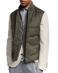 Brunello Cucinelli Quilted Down Vest W Zip Out Sleeves Hunter