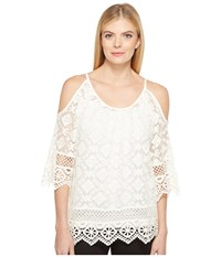 Karen Kane Cold Shoulder Lace Top Off White Women's Clothing