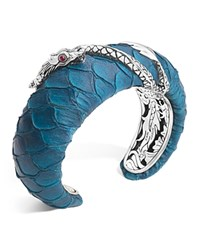 John Hardy Naga Silver Medium Squeeze Cuff With Turquoise Color Exotic Skin With African Ruby Eyes