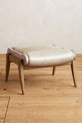 Anthropologie Premium Leather Roadway Ottoman Ivory