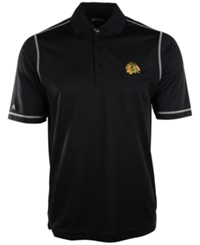 Antigua Men's Short Sleeve Chicago Blackhawks Icon Polo Black White