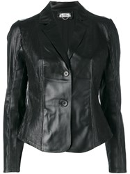 Desa 1972 Fitted Leather Blazer Women Cotton Leather 46 Black