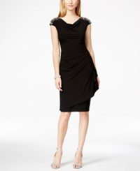 Alex Evenings Cap Sleeve Draped Embellished Sheath Dress