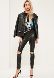 Missguided Black High Waisted Split Detail Wet Look Leggings