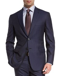 Brioni Multi Stripe Super 150S Wool Two Piece Suit Navy