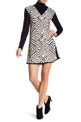 Grayse Faux Leather Geo Shift Dress Brown