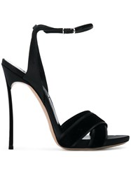 Casadei Crossover Strap Sandals Black