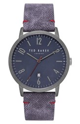 Ted Baker London Daniel Synthetic Strap Watch 42Mm Dark Blue Blue