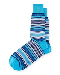 Bugatchi Striped Cotton Blend Socks Aqua