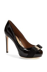 Women's Salvatore Ferragamo 'Plum' Peep Toe Patent Leather Pump Nero Patent