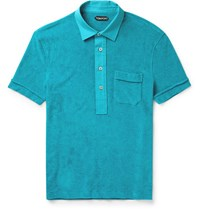 Tom Ford Cotton Terry Polo Shirt Turquoise