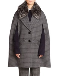 Michael Kors Pressed Guncheck Wool And Fur Cape Coat Slate Navy