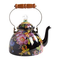 Mackenzie Childs Flower Market Enamel Tea Kettle Black