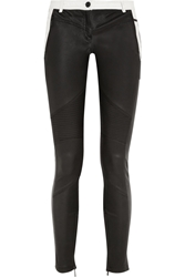 Karl Lagerfeld Bikey Biker Two Tone Leather Skinny Pants Black