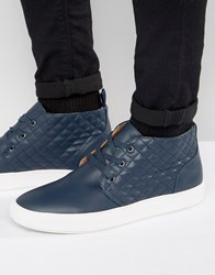 Steve Madden Quicker Leather Chukka Trainers Navy