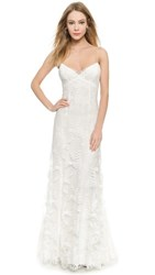 Monique Lhuillier Sienna Chantilly Lace Gown Silk White