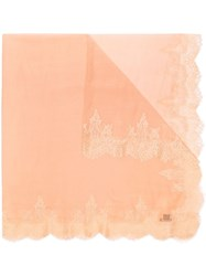 Janavi Orange Lace Trim Cashmere Scarf