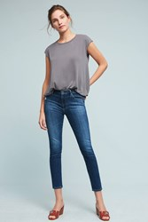 Anthropologie Ag Stevie Mid Rise Skinny Cropped Jeans Denim Medium Blue
